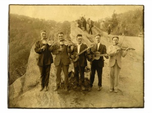String band musicians at Blowing Rock, North Carolina, circa 1925. Left to right: Roe Greene, Bert Jenkins, Clay Reed, Ralph Story, Grayson Story. (Collection: Marshall Wyatt)