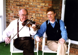 Fiddler Frank Blevins with Marshall Wyatt, Greeneville, Tennessee, 1996. (Collection: Marshall Wyatt)